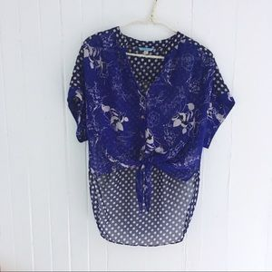 Anthropologie Leifnotes High Low Tie Front Top